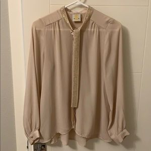 Button-down blouse with necktie detail